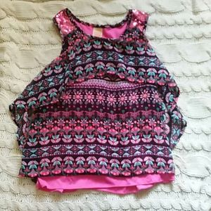 Girls pink multi colored floral tank top